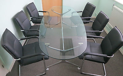 orange box boardroom glass top table with 6 armed chrome Home Office Desks Home Office Furniture Desks