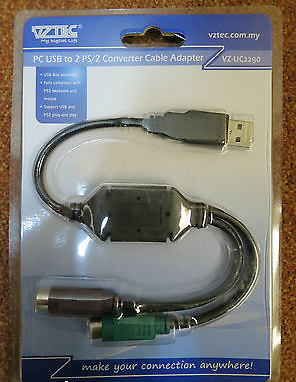 100 x Vztec PC USB to PS/2 Converter Cable Adapter VZ-UC2290