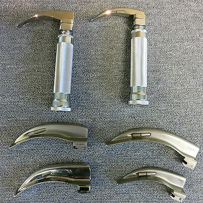 2 x Laryngoscope MAcIntosh With 6 Curved Mac Fiber Optic blades Attachments
