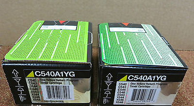 2 x Lexmark Original C540A1YG New Yellow Return Program Toner Cartridge