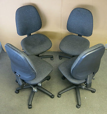 4 x Dark Grey Medium Back/Black Base Adjustable Operator Office Chair