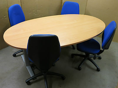 Beech Wood Oval Boardroom Meeting Table with 4x Herman Miller Blue Office Chairs