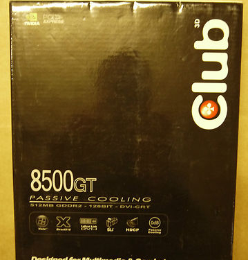 Club 3D 8500GT CGNX-HG852 512MB GDDR2 128Bit DVI-CRT PCI NVIDIA Graphics Card