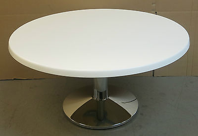 Frovi Wedge Fusion White 800mm Circular Coffee/ Reception Table Office Equipment