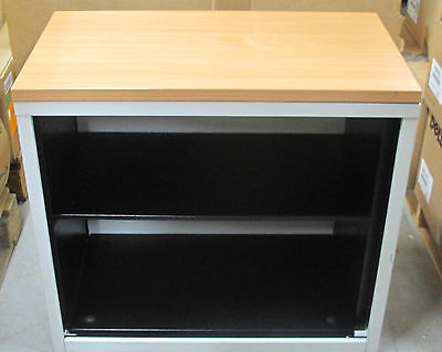 Grey Metal~Wooden Topped Single Shelf Book/Filing Office Storage Cabinet