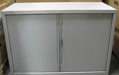Grey Tambour Door/Rolling Shutter Single Shelf Office Filing Cabinet/Cupboard