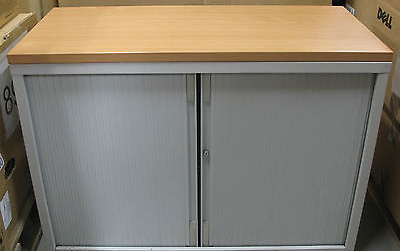 Grey Tambour Door/Rolling Shutter Wooden Topped 1 Shelf Office Filing Cabinet