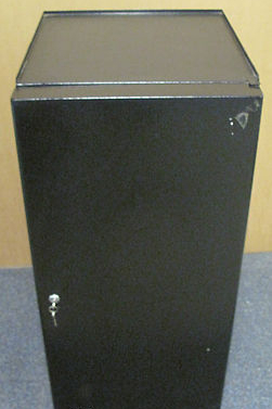 Single Shelf Black Steel Locking Comms/Audio Cabinet with Keys, Office Equipment