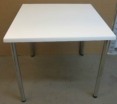 Werzalit White Top/Chrome Square 800mm x 800mm Resturant / Dining / Cafe Table